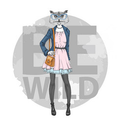 Retro hipster fashion animal bird owl woman model vector