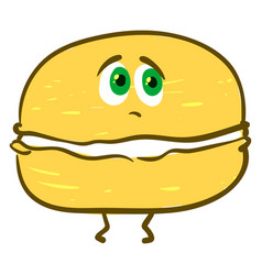 sad yellow macaron on white background vector image