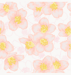seamless branch pink chamomile graphic vector image