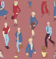 Seamless pattern with business people walking vector