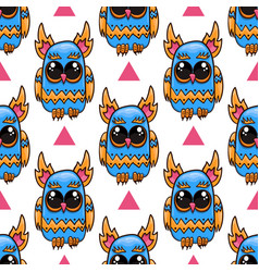 Seamless pattern with cute owl cute vector