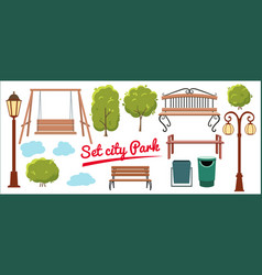 set elements for city park tree trash can vector image