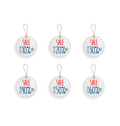 set of circle price discount sale tag label vector image