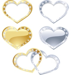 Set of gold and silver heart vector