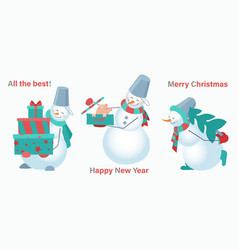 set of snowmen on a white background snowman with vector image