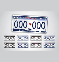 set texas auto license plate detailed object vector image