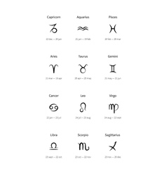 signs zodiac black icons vector image