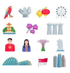 Singapour Culture Flat Icons Set vector image