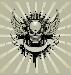 skull in moto style with engine and wings vector image