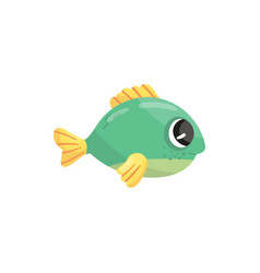 Small green marine fish with yellow fins and shiny vector