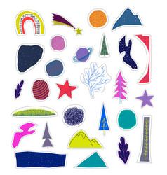 Space nature star cutout sticker vector