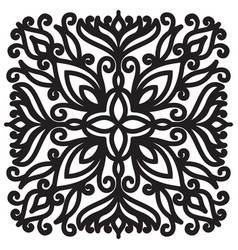 Square solid mandala black graphic element on vector