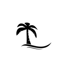 summer beach silhouette logo vector image