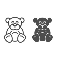 Teddy bear line and glyph icon plush toy vector