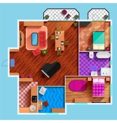 Top View Of Interior Of Typical Apartment vector