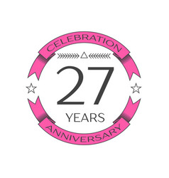 twenty seven years anniversary celebration logo vector image