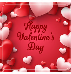 valentines day on red background vector image