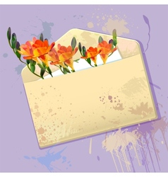 Violet card with grunge envelope and flowers vector image