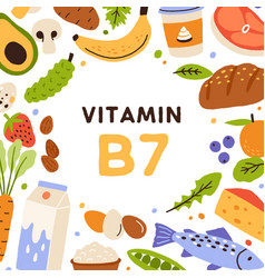 Vitamin b7 square card with natural nutrients vector
