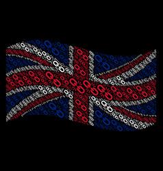 Waving british flag collage of break chain link vector