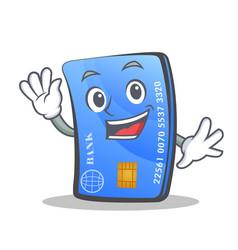 Waving credit card character cartoon vector