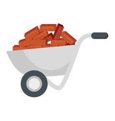 wheelbarrow with bricks icon vector image