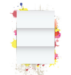 white paper on splatter background vector image