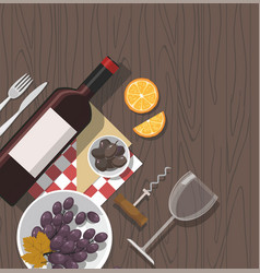 Wine glassbottle and grapes wooden background vector
