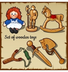 Wooden toys for all children play set vector