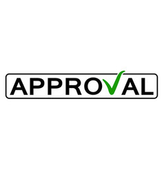 Word approval with green checkmark vector