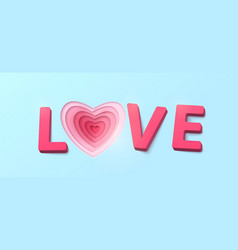 Word love with 3d effect plastic letters heart vector