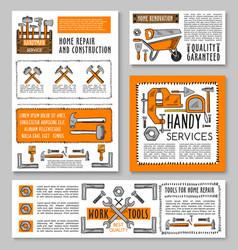 Work tools home repair sketch posters vector