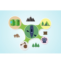 Camping and kayak graphic in round style outdoor vector image vector image