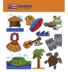 hawaii travel tourism landmarks and tourist vector image vector image