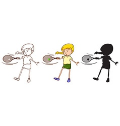 Three sketches of a girl playing tennis vector image