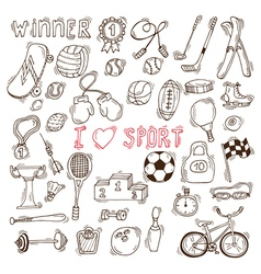 Fitness and sport elements Hand drawn sport doodle vector image