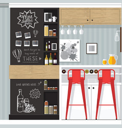 kitchen bar interior vector image