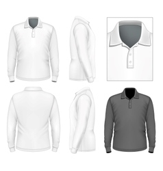 Mens long sleeve polo-shirt design template vector image vector image