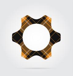 Orange black tartan isolated icon - cogwheel vector