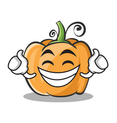 Proud face pumpkin character cartoon style vector