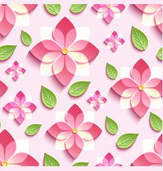 seamless pattern with pink 3d sakura vector image vector image