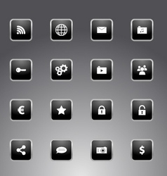 Set of black icons with silver outline vector image vector image