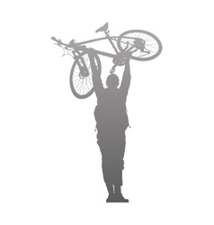 Silhouette of man to rise above a bike vector image
