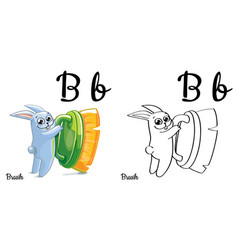 brush alphabet letter b coloring page vector image vector image