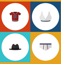 Flat icon clothes set of panama t-shirt vector