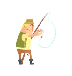 Amateur fisherman in khaki clothes placing a worm vector