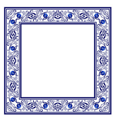 frame with blue ethnic floral ornament with roses vector image vector image