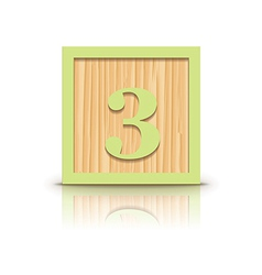 number 3 wooden alphabet block vector image
