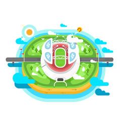 stadium arena building flat design vector image vector image