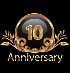 10 years anniversary birthday in gold vector image